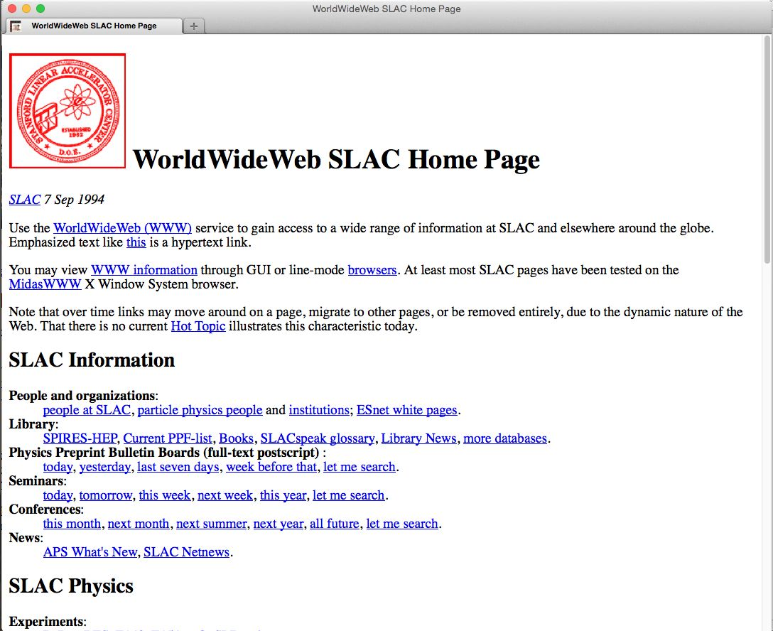 SLAC home page 1992-1995 Timemap