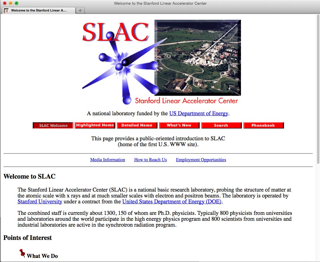 SLAC home page 1995-1998 Timemap